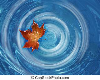 liść, ruchomy, w, rzeka