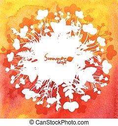 liście, akwarela, sylwetka, tło, biały czerwony