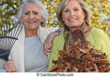 liście, amfiladowy, dwa kobiet