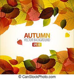liście, barwny, abstrakcyjny, jesień, wektor, tło