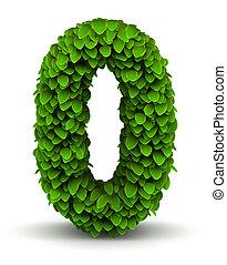 liście, chrzcielnica, zielony, liczba, 0