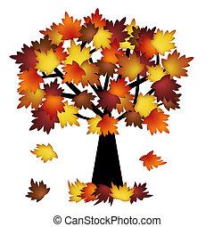 liście, drzewo, barwny, upadek