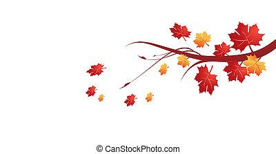 liście, ilustracja, jesień, wektor