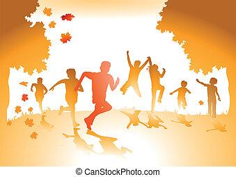 liście, jesień, dzieci