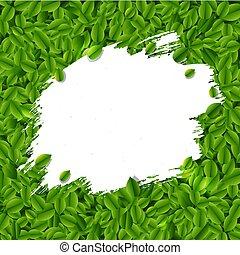 liście, kleks, zielone tło