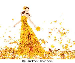 liście, klon, bukiet, dzierżawa, strój, fason, leaves., jesień, kobieta