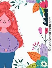 liście, kobieta, matkuje dzień, szczęśliwy, rysunek, ozdoba, kwiaty