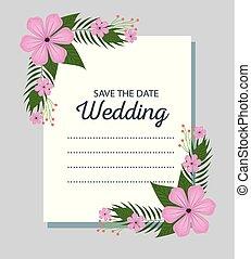 liście, kwiaty, brzeg, karta, ślub