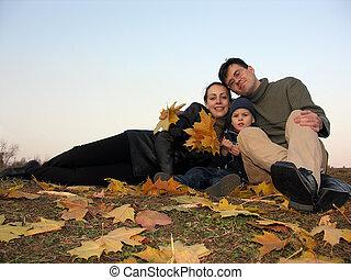 liście, rodzina, jesień