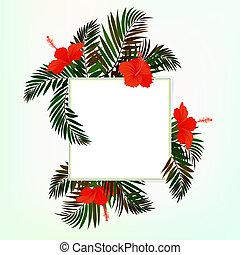 liście, skwer, dłoń, karta