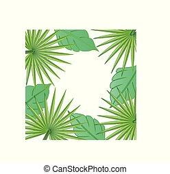 liście, ułożyć, brzeg, drzewo, wektor, dłoń, wizerunek, tło