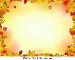 liście, ułożyć, upadek