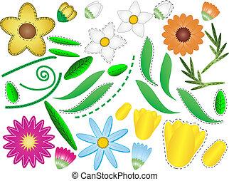 liście, wektor, eps, kwiaty, &, 8