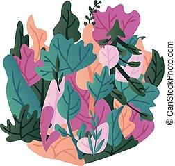 liście, wektor, ilustracja, -, modny, chorągiew, z, barwny, roślina, liście, odizolowany, na białym, tło.