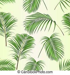 liście, wektor, roślina, struktura, ozdoba, komplet, dłoń, seamless