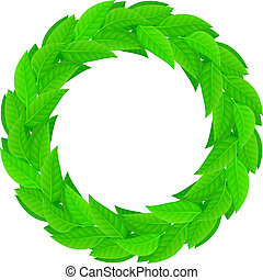 liście, wieniec, zielony