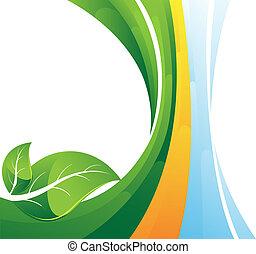 liście, zielony, pasiaste tło