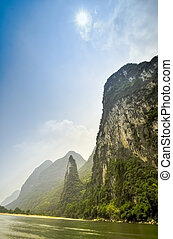 Beautiful Li river bamboo side Karst mountain landscape in Yangshuo Guilin, China