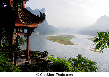 Early morning view over the li river, Yangshuo, China