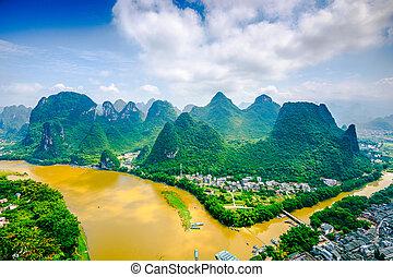 Li River in China - Karst Mountain landscape on the Li River...