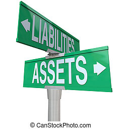 liabilities, activa, vs, twee, straat, weg, tekens & borden, boekhouding, straat