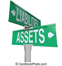 liabilities, ativos, vs, dois, rua, maneira, sinais, contabilidade, estrada