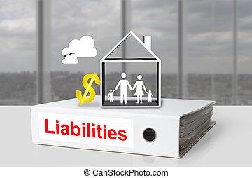 liabilities, famille, bureau, symbole, dollar, relieur, maison, blanc