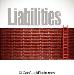 liabilities ladder illustration design over a white...