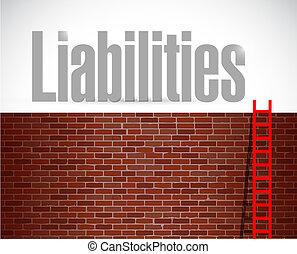 Liabilities ladder illustration design over a white ...