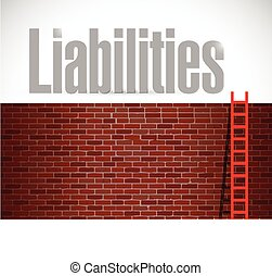 liabilities ladder illustration design over a white...