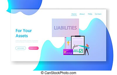 Liabilities Landing Page Template. Tiny Woman Sign ...