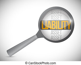Liabilities under review illustration design over a white ...