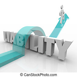 Liability 3d Word Arrow Jumping Over Trouble Legal Responsibility Obligation