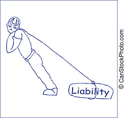 liability - drawing of a man pulling on a rope load