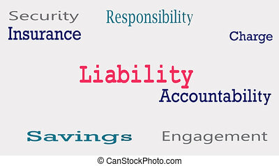 Liability word cloud concept on white background.