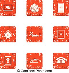 Liaison icons set. Grunge set of 9 liaison vector icons for web isolated on white background