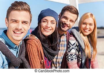 liaison, nous, groupe, séance, gens, jeune, quoique, autre, chaque, friends!, sourire, riverbank, mieux, heureux