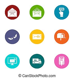 Liaison office icons set, flat style - Liaison office icons ...