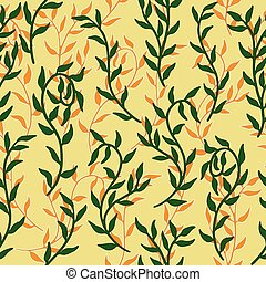 Liana spreads green and orange leaves creeper seamless pattern background vector