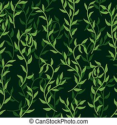 Liana spreads green leaves creeper seamless pattern background vector