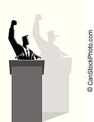 Liar Concept - Vector illustration of a man on a podium...
