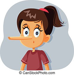 Liar Girl with Long Nose Vector Cartoon - Dishonest child ...