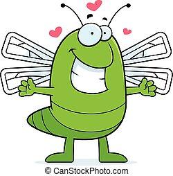 libélula, abraço, caricatura