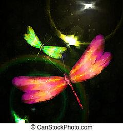libélula, abstratos, brilhante