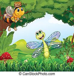 libélula, bosque, abeja