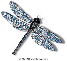 libélula, branca, contra