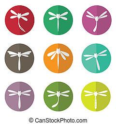 libélula, círculo, vetorial, grupo