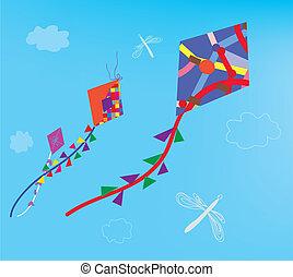 libélula, cielo, cometas, plano de fondo