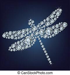 libélula, diamante, composto, lote