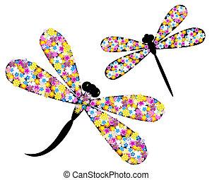 libélula, en, flores